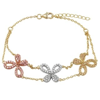 Luxiro Tri-color Finish Sterling Silver Cubic Zirconia Three Butterflies Bracelet