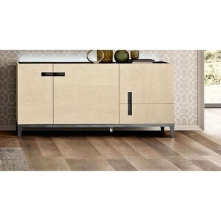 Luca Home Alana Ivory/Mocha Glass/Wood/Veneer 3-door Buffet