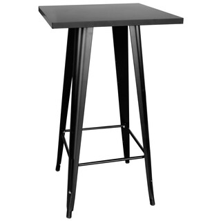 AmeriHome Loft Black Metal Pub Table w/ Metal Top
