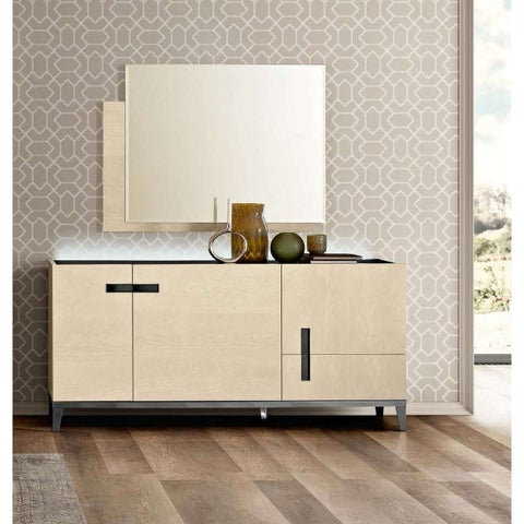 Luca Home Ivory Three Door Buffet and Mirror set