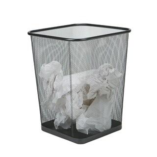 Mind Reader 2-Piece Garbage Waste Basket Recycling Bin Set, Square Metal Mesh, Black