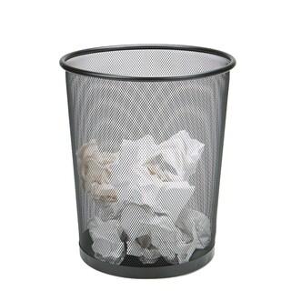 Mind Reader 3-Piece Garbage Waste Basket Recycling Bin Set, Round Metal Mesh, Black