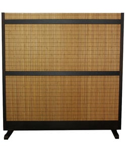 Handmade Beige Wood and Bamboo Take Free-standing Room Divider Screen (China) - Thumbnail 1
