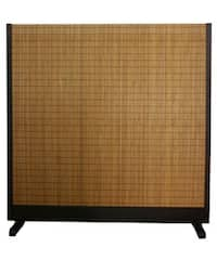 Handmade Beige Wood and Bamboo Take Free-standing Room Divider Screen (China)