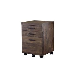 Filing Cabinet - 3 Drawer / Wood Grain On Castors