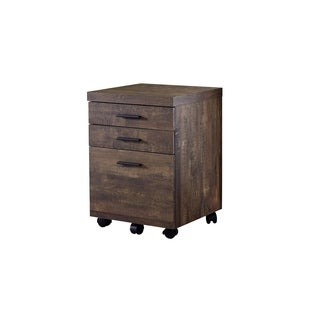 Filing Cabinet - 3 Drawer / Wood Grain On Castors