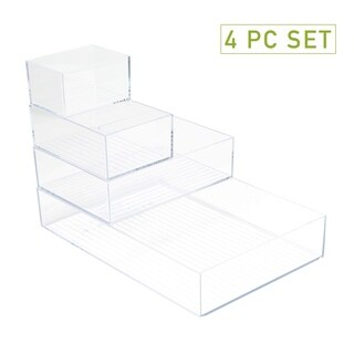 Mind Reader Acrylic 4-Piece Multi-Size Office Supply, Accessory Desk Organizer Set, Clear
