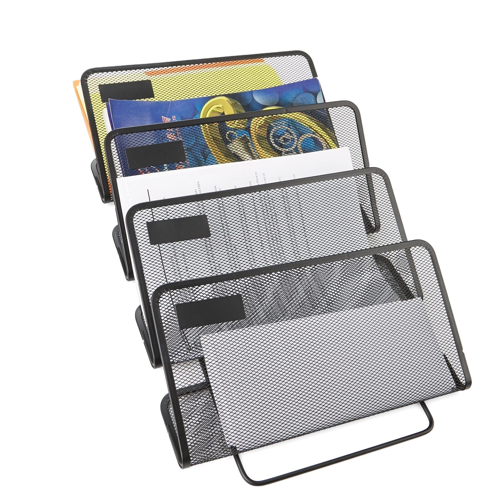 Mind Reader 45 Tier Compartment Wall Mounted Office Supply, Document, Folder  Organizer, Black
