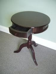 Mahogany Wood Round Side Table (Indonesia) - Thumbnail 1
