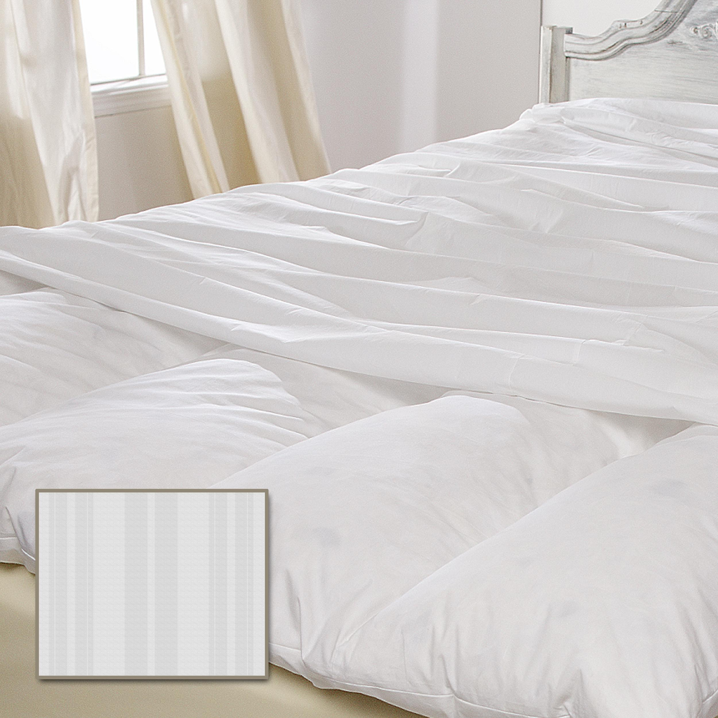 Luxury 330 Thread Count Featherbed Protector with Woven Stripe