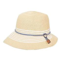 Women's Callanan CR222 Paper Braid Short Back Cloche Hat Natural/White