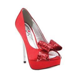 Women's Luichiny Kissy Kiss Peep Toe Stiletto Red Satin