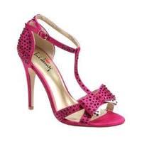 Women's Luichiny Piper Zoe T-Strap Sandal Fuchsia Satin