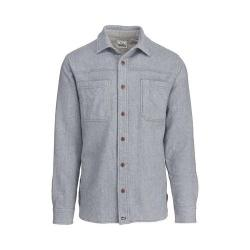 Men's Woolrich Washed Wool Long Sleeve Shirt Gray Heather