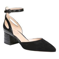 Women's Franco Sarto Caleigh Ankle Strap Sandal Black Diva Suede/New Croco Polyurethane