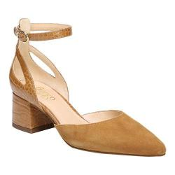 Women's Franco Sarto Caleigh Ankle Strap Sandal Light Cuoio Diva Suede/New  Croco Polyurethane
