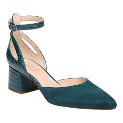 Women's Franco Sarto Caleigh Ankle Strap Sandal Royal Turquoise Diva Suede/New Croco Polyurethane