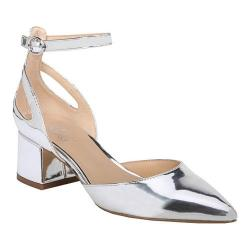 Women's Franco Sarto Caleigh Ankle Strap Sandal Silver Liquid Metallic Polyurethane