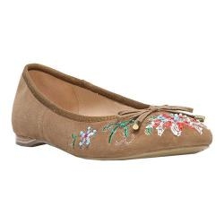 Women's Franco Sarto Roland Ballet Flat Camel Embroidered Suede