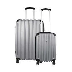 Preferred Nation P9120-2 2-Piece Hardside Luggage Set Silver Grey