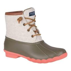 Women's Sperry Top-Sider Saltwater Duck Boot Taupe Natural Prints Rubber/Leather