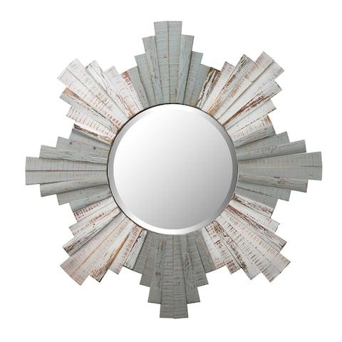 Sunburst 32-inch Grey, Whitewash Beveled Mirror - Grey/Whitewash