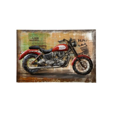 Retrograde Triumph Motorcycle 3D Wall Art