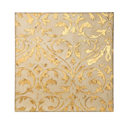 Ivory and Gold Damask Trefoil Wall Art