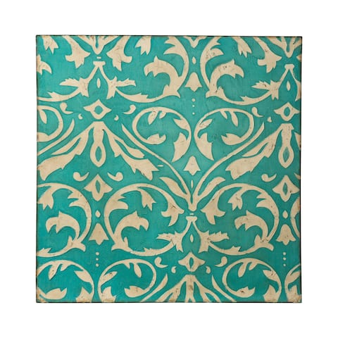 Distressed Teal and Ivory Damask Trefoil Wall Art