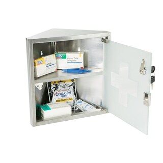 Mind Reader Medicine Cabinet, Wall Mounted with Tempered Glass, Silver