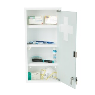Mind Reader Medicine Cabinet, Wall Mounted with Tempered Glass, White