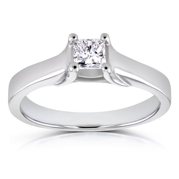 Annello by Kobelli 14k Gold 1/3ct TDW Princess Diamond Solitaire Ring (H-I, SI1-SI2)