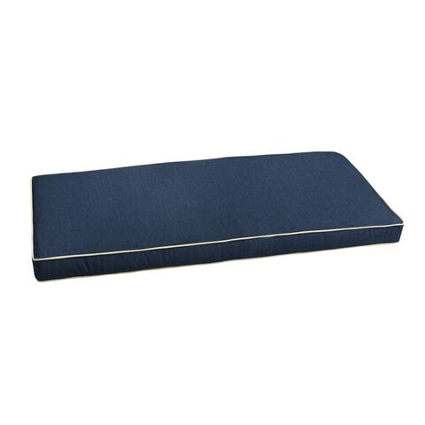"""Sunbrella Indigo Blue with Ivory Indoor/ Outdoor Bench Cushion 37"""" to 48"""", Corded"""