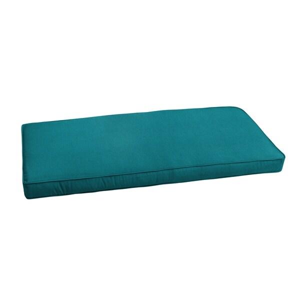 "Sunbrella Peacock Blue Indoor/ Outdoor Bench Cushion 55"" to 60"", Corded"