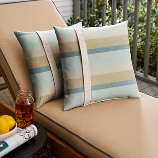 Sunbrella Blue Taupe Stripe with Silver Grey Indoor/ Outdoor Square Pillow, Set of 2