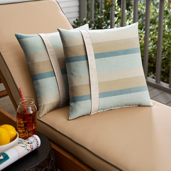 Shop Sunbrella Blue Taupe Stripe With Silver Grey Indoor