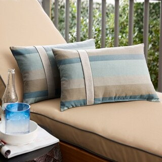Sunbrella Blue Taupe Stripe with Silver Grey Indoor/ Outdoor Lumbar Pillow, Set of 2