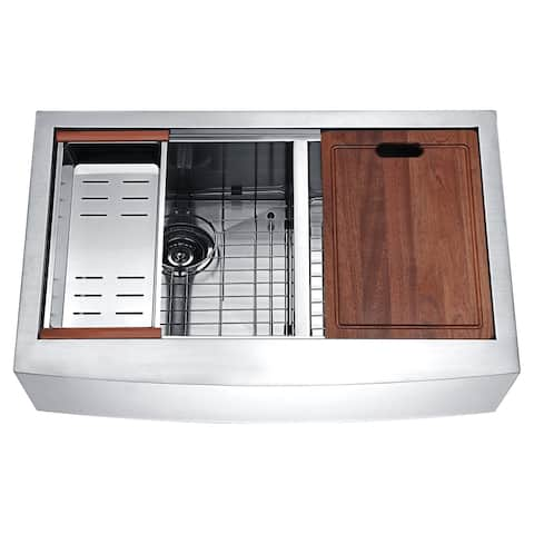 ANZZI Aegis Farmhouse 33 in. 60/40 Double Bowl Kitchen Sink with Cutting Board and Colander