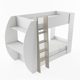 Jerry European White Wood Desk-style Twin Bunk Bed