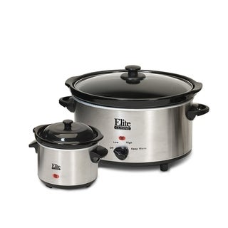 Elite MST-500D 5-Quart Stainless Steel Slow Cooker with Mini Dipper
