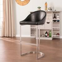 Strick & Bolton Schadow Black and Brushed Silver Barstool