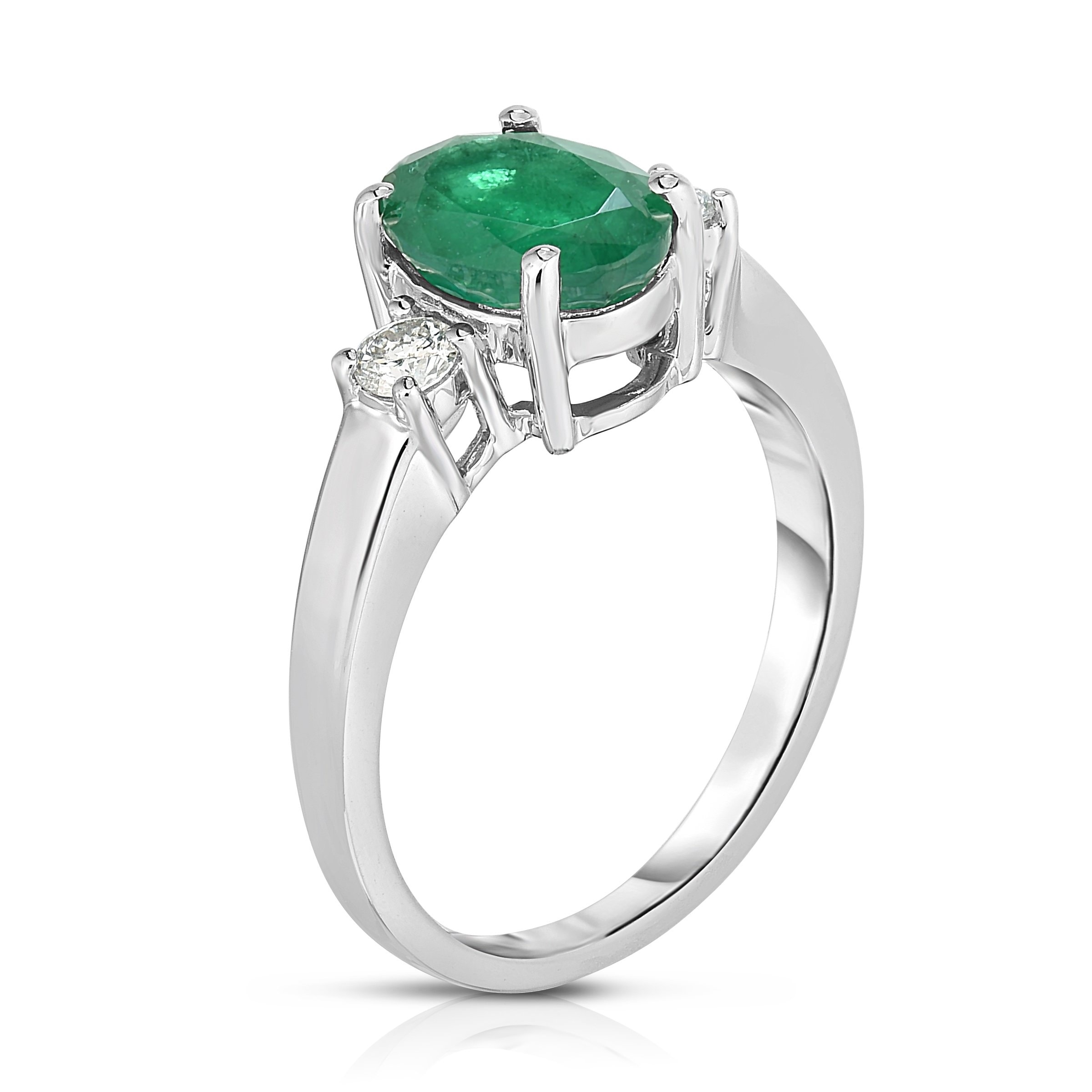 Noray Designs 14K Yellow Gold Emerald Cut Emerald /& Diamond Ring 0.15 Ct, G-H, SI2-I1