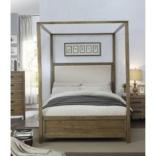 Furniture of America Holstead II Rustic Light Oak Canopy Bed