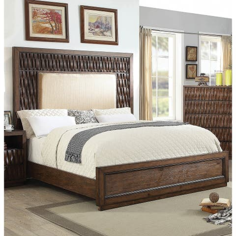 Furniture of America Sale Transitional Brown Fabric Panel Bed