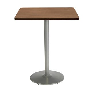 KFI Mode Square Top Multipurpose Table, Round Silver Base, Bistro Height