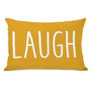 Laugh - Yellow White 14x20 Pillow by OBC
