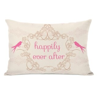 Happily Ever After - Cream Pink 14x20 Pillow by OBC