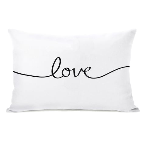 Love Mix and Match Reversible - Black White 14x20 Pillow by OBC