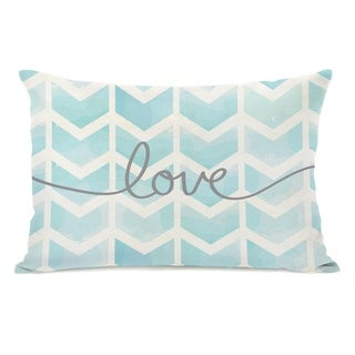 Love Waterfall Chevron Mix & Match - White Aqua Gray 14x20 Pillow by OBC