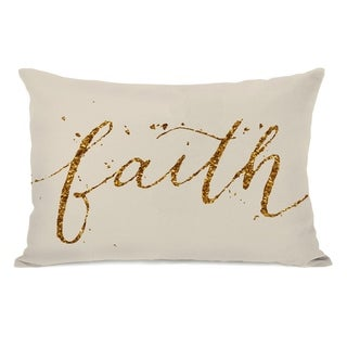 Faith - Cream Gold 14x20 Pillow by OBC